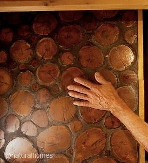 Encimera de cocina hecha con leños.